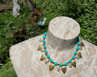 Turquoise Pearl And Brushed Gold Beaded Vintage Choker Necklace