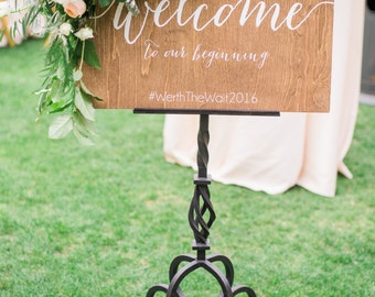 Wedding Welcome Sign - Wedding Signs - Welcome to our beginning - Wooden Wedding Signs - Wood