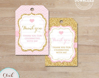 Pink and Gold favor tags, Thank you Tags, Baby shower Gift Favors, Chevron Party Decoration, Party Favors, Printable DIY, Instant download