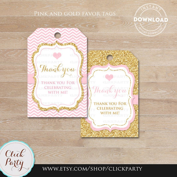 Pink and gold favor tags thank you tags baby shower gift favors pink and gold favor tags thank you tags baby shower gift favors chevron party decoration party favors printable diy instant download from clickparty negle Image collections
