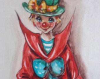Handpainted Picture of a Clown, Paris 1996  Signed