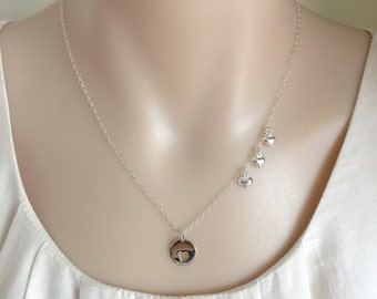 Silver Mother's Necklace,Mom's Necklace,Silver Hearts Necklace,1 2 3 Hearts Necklace,Mother's Day,Family Necklace,Heart Necklace,Stamped Eve