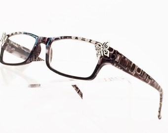 Butterfly Reading Glasses +3.25, Black and Silver Readers