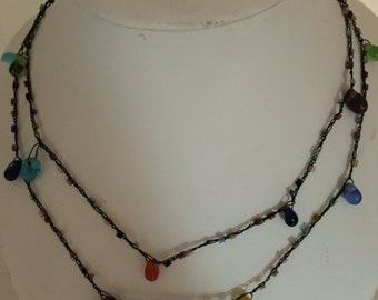 Crazy Dainty Beautiful Hand Made Thread and Seed Bead with Natural stones