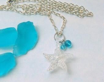 Star Fish Necklace Beach Jewelry Glass Starfish Pendant Ocean Jewelry Starfish Necklace Beach Necklace Sea Glass Beads Beach Charms