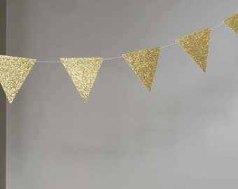 Gold Glitter Triangle Garland, Triangle Banner, 10ft, Wedding Banner, Bridal Shower Garland, Gold Decorations, 50th Birthday Decorations
