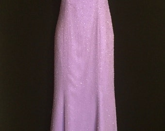 Amazing Back!!! Lilac Glass Bead Gown                        VG192