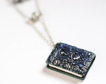 Book lover necklace, Book necklace, Mini book jewelry, Book charm necklace, Book lover gift, Miniature book charm, Tiny book, Double sided