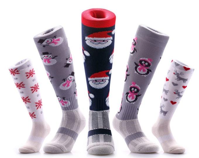 Samson® Christmas Socks Knee High Sport Stockings Festive Seasonal Winter Thermal Cosy Warm