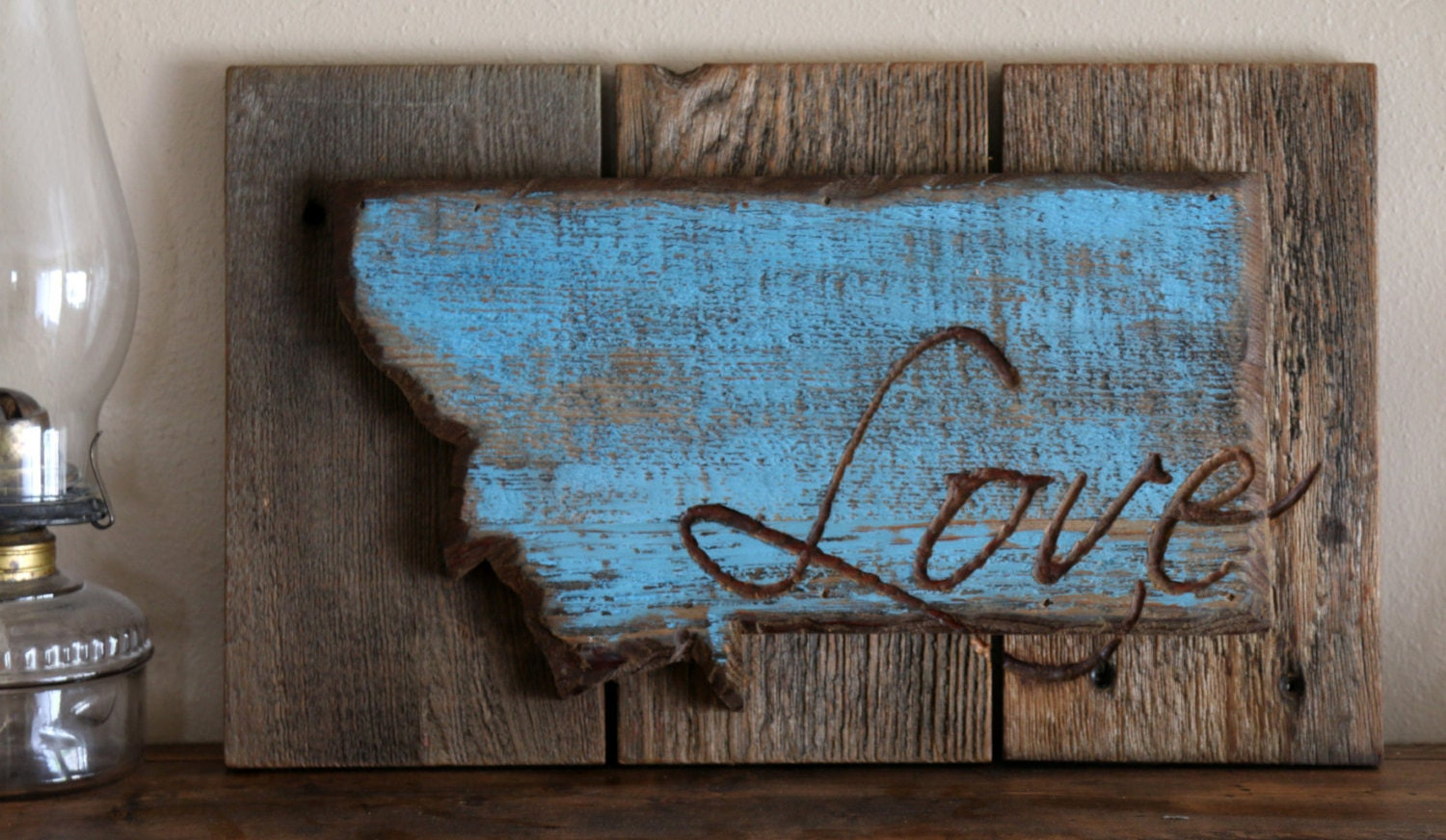 Love mt rustic barnwood sign rustic decor wooden wall for Montana rustic accents