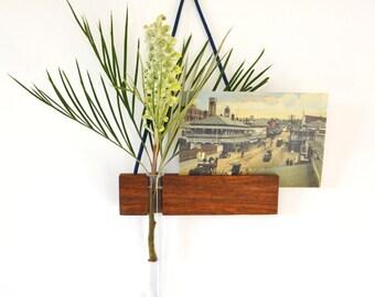 Solid gum, hanging vase, reclaimed wood, gum, glass test tube, wall vase, best friends vase