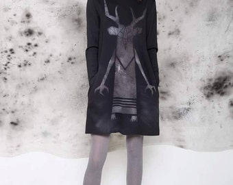 Steampunk Dress, Tribal Dress, Cyberpunk Clothing, Plus Size Dress, Festival Dress, Black Summer Dress, Little Black Dress, Dark Dress