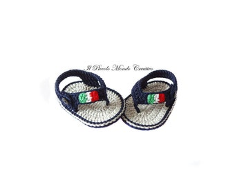 Crochet Baby Booties, Crochet Baby Flip Flops, Crochet Baby Sandals, Patriotic Baby Shoes, Italian Flag, Baby Shower Gift