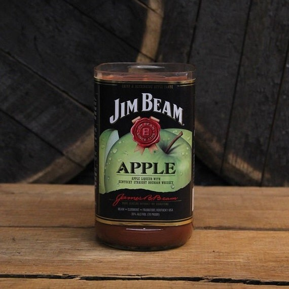 Soy Candle, Jim Beam Apple Whiskey Recycled Bourbon Bottle Candle, Handmade Wood Wick Soy Wax 1L Recycled Alcohol Bottle, Custom Scents