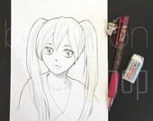 Custom Anime Manga Style Portrait - Pencil