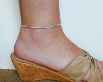 Sterling Silver Anklet, Silver Ankle Bracelet, Beaded Anklet, Sterling Anklet, Rainbow Anklet, Ankle Chain, Summer Jewelry