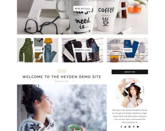 "WordPress Theme - Responsive, Minimal, Clean - ""Heyden"" for WordPress - Woocommerce - Customizable and Simple - Instant Download - Fashion"