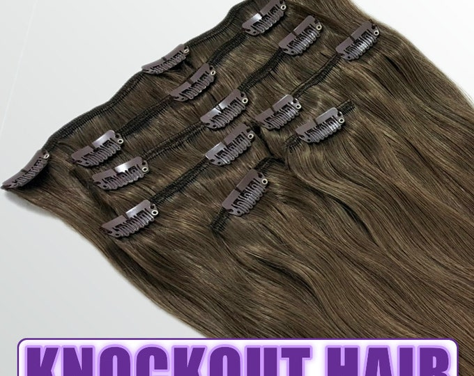 "Clip In Human Hair Extensions 18"" - 120 Grams Full Head Remy Premium Grade AAAAA Double Wefted (Medium Ash Brown #5A)"