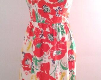Vintage 1970's Colorful Maxi Garden Party Hostess Dress Large Floral Print Sz Small Boho Mod