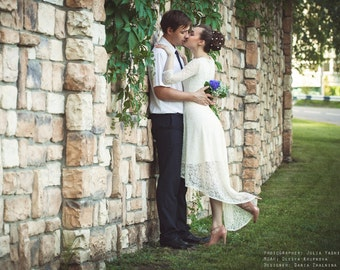 Lace wedding dress, ivory wedding dress, bridal gowns, wedding gown, bride, beautiful dress, white dress, short wedding dress, short dress