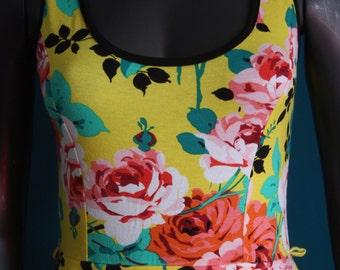 Yellow dress and flowers peplum vintage mod cloth