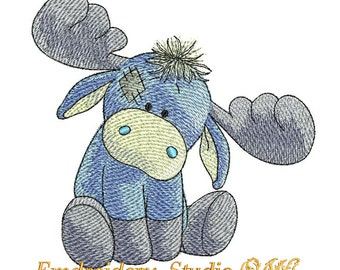 """Machine embroidery design children Moose """"Jock"""" of series """"Old Toy"""" (two sizes) - embroidery moose - kids design - embroidery for baby - toy"""