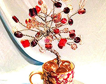 China Pink 'Enchanted' Crystal Tree with Delicate Flowers Espresso Cup