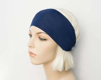 Matte Navy Blue Workout Headband, Yoga Headband, Wide Fitness Headband, Solid Color Headband, Running Headband, Exercise Headband, Non Slip