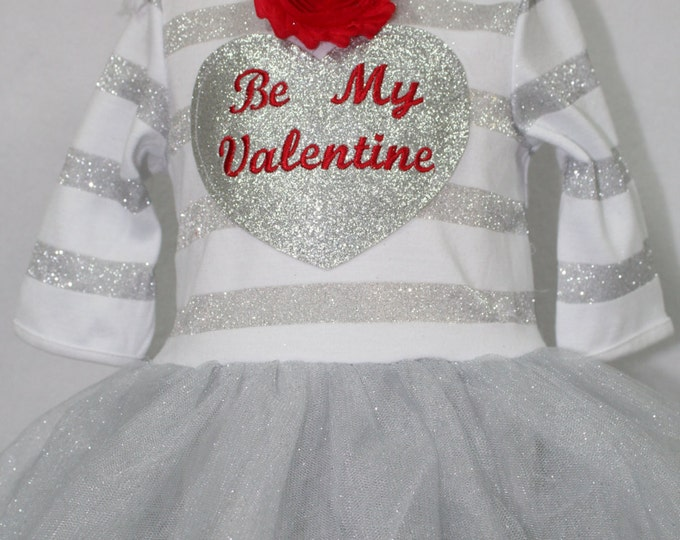 Baby Girl First Valentine outfit, Baby Girl Valentine Dress, Baby Girl Red and Silver Valentine Dress, Valentine Headband, Silver Dress