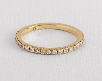 Eternity Diamond Ring, Diamond Wedding Band, Thin Diamond Ring, Half Eternity Band, Stackable Diamond Ring, Yellow Gold Eternity Band