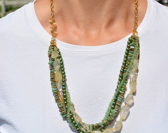 Shades of Green Multi Strand Necklace