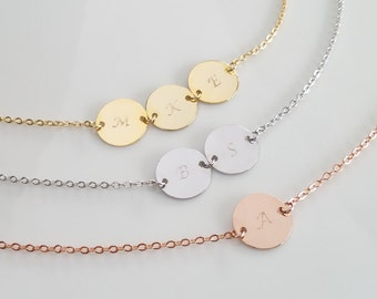 Personalized Disc Necklace, Gold Letter Disc, Bridesmaid Gift, Silver Initial Disc, Rose Gold Disc Necklace, Gift Necklace