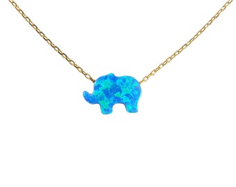 Elephant Necklace. Opal Elephant pendant 925 sterling silver gold plated necklace.