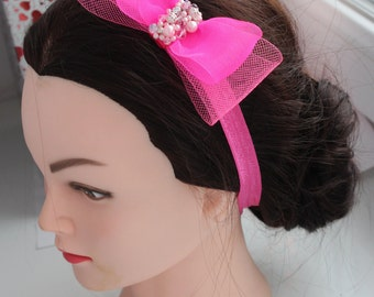 Wedding children's hair band for girl, baby bow, hair accessories, bridal headband rose pink