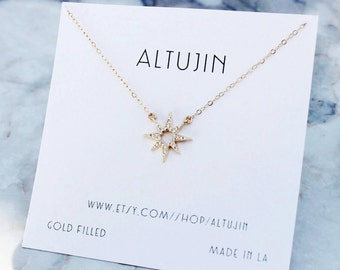 Star Necklace, Gold Star Necklace, Shooting Star Necklace, Pave Diamond Necklace,Gold Star Necklace,Starburst Necklace, Statement Necklace