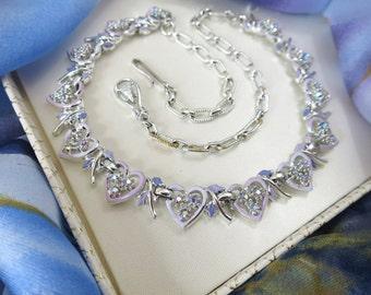 1960's Vintage Enamel Necklace - Purple / Lilac Heart Link Aurora Borealis Rhinestone Collar Necklace