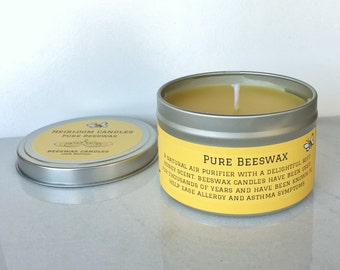 100% Natural Beeswax Candle Tin - 8oz - Air Purifier, Aromatherapy candle, sweet candle - honey candle - beeswax candle - natural candle