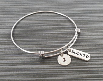 Blessed Bangle Bracelet - Blessed Charm Bracelet - Adjustable Bracelet Bangle - Blessed Bracelet - Initial Bracelet - Inspirational Jewelry