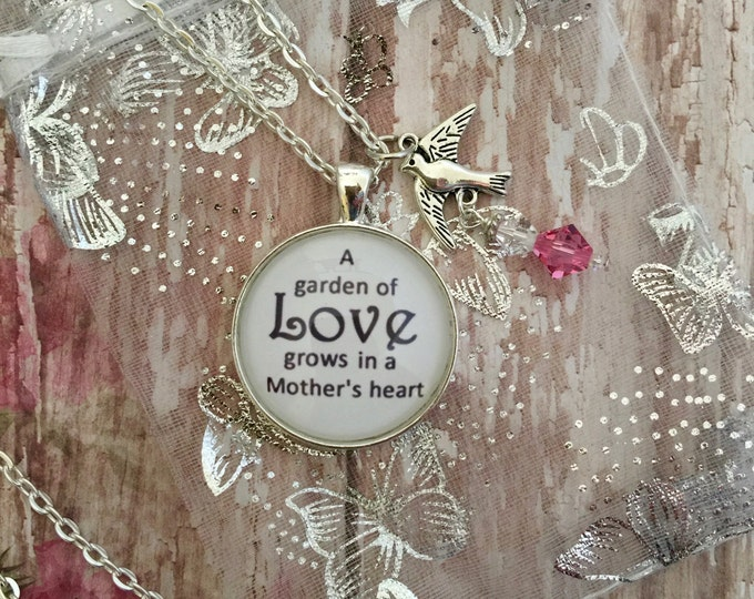 Gift for Mother silver pendant with bird charm and Swarovski crystals on silver link chain necklace with scripture card 1 Corinthians 13:7-8