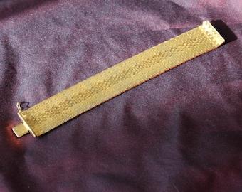 Gold Plated Heavy Mesh Brickwork Vintage Bracelet Marked CT 18750