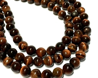 6mm Red Tiger Eye Gemstone Beads - 15inch Full strand - Round Gemstone Beads