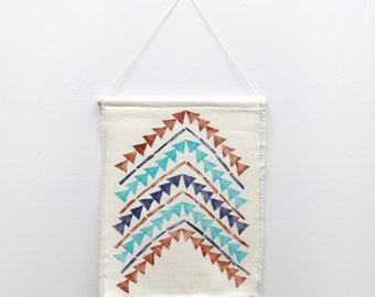 ARROWS One of a Kind Hand Stamped Textile Wall Hanging Tapestry