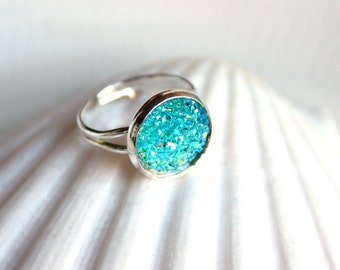 BLUE WAVE-resin silver ring turquoise blue drusy