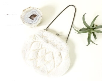 Vintage White and Silver Beaded Purse / Vintage Beaded Purse / Bridal Clutch Wedding Clutch / Styled by Artel Montreal Handbag Clutch