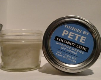 Coconut Lime Soy Candle - ThingsbyPete - 4oz Jar