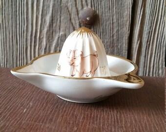 Pretty French Vintage Porcelain F.D. Chauvigny Juicer or Lemon Squeezer