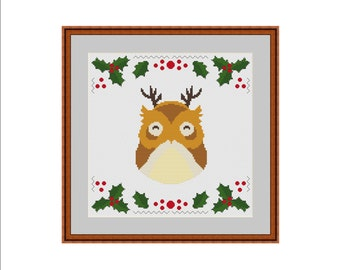 Owl cross stitch, Christmas cross stitch, Xmas cross stitch, Winter cross stitch, Easy cross stitch, Cross stitch pattern, Printable pattern