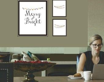 Merry and Bright, Christmas Sign, Set of 3 Printable, Christmas printable, Holiday digital poster, Holiday printable, Red and Green decor