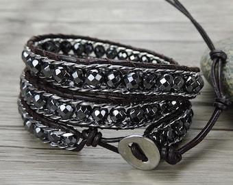 bead wraps bracelet hematite bead bracelet boho bead bracelet bead chain bracelet gypsy Leather wrap bracelet bead braided bracelet SL-0352