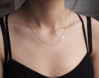 Soar Bird Necklace, Dainty Minimal Bird Necklace, Simple Layering Necklace in Sterling Silver #D66